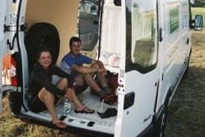 quick lunch in the rental van