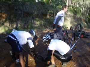 puncture for team 'Just in Time'