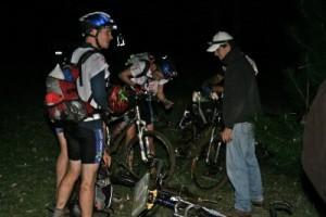 team 'Woop Woop' getting ready to leave on the bikes