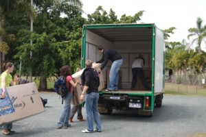 loading the bike boxes into the truck at the airport