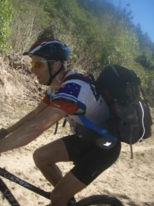 sweaty during an uphill section