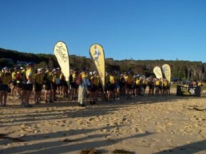 at the start on the beach