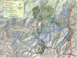 map of Fox Creek mtb trails (also known as Cudlee Creek)