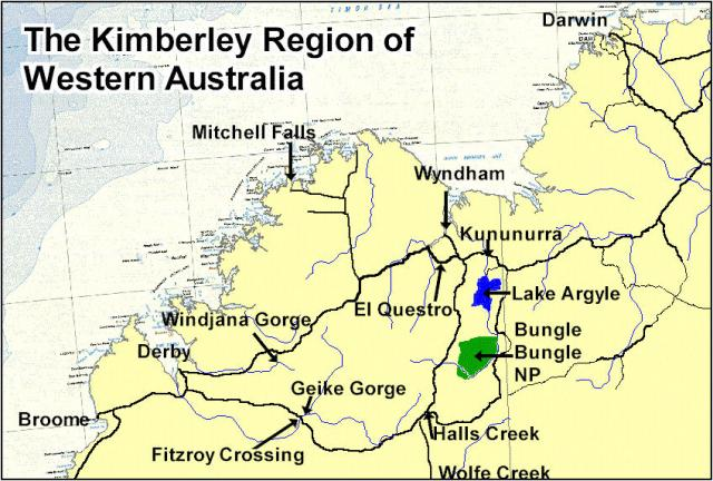 basic map of the Kimberley region in Western Australia