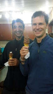 Jon eating dessert after a Wednesday night Karura run - not quite Bomb Alaska but pretty good too