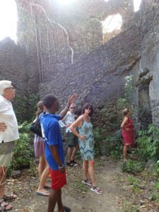 listening to our guide explaining the history of the palace ruin on Juani - Jurg, Marina, Gunnar, Birgit and Anne