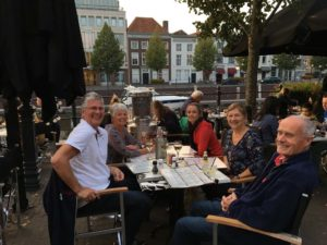 catching up with Hans and Dini in Breda. They had cruised there with their boat and were spending a few nights in town. You can just see their boat in the harbour behind us