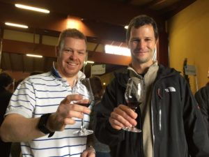 Russell and Jon tasting some of the excellent wines