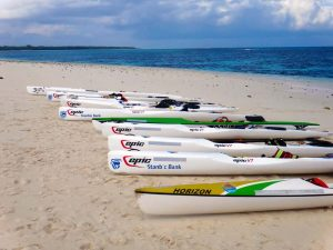 the ten surf skis on Pungume, the sandbank just south of Zanzibar
