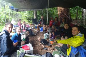 it's a rainy weekend which is lucky as we get to use additional campsites for our dining tent - Tom, Jenn, Anna with Millie and Lissie, Todd, Jonno, Jo, Angie, Chan and Jon