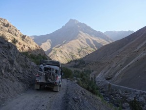 Some of the roads are pretty narrow - this is on the way to the 7 lakes in Tajikistan