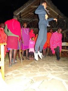 Jessie jumping higher than all the Maasai warriors