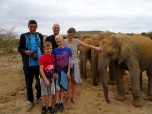 Sandra, Peter, Jessie, Niels & Jens with the elephant orphans in Umani Springs