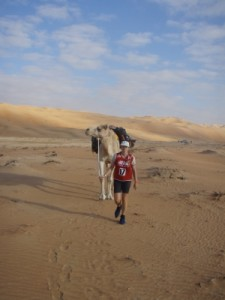 we start the trek with our camel through some more desert, this time only 40km