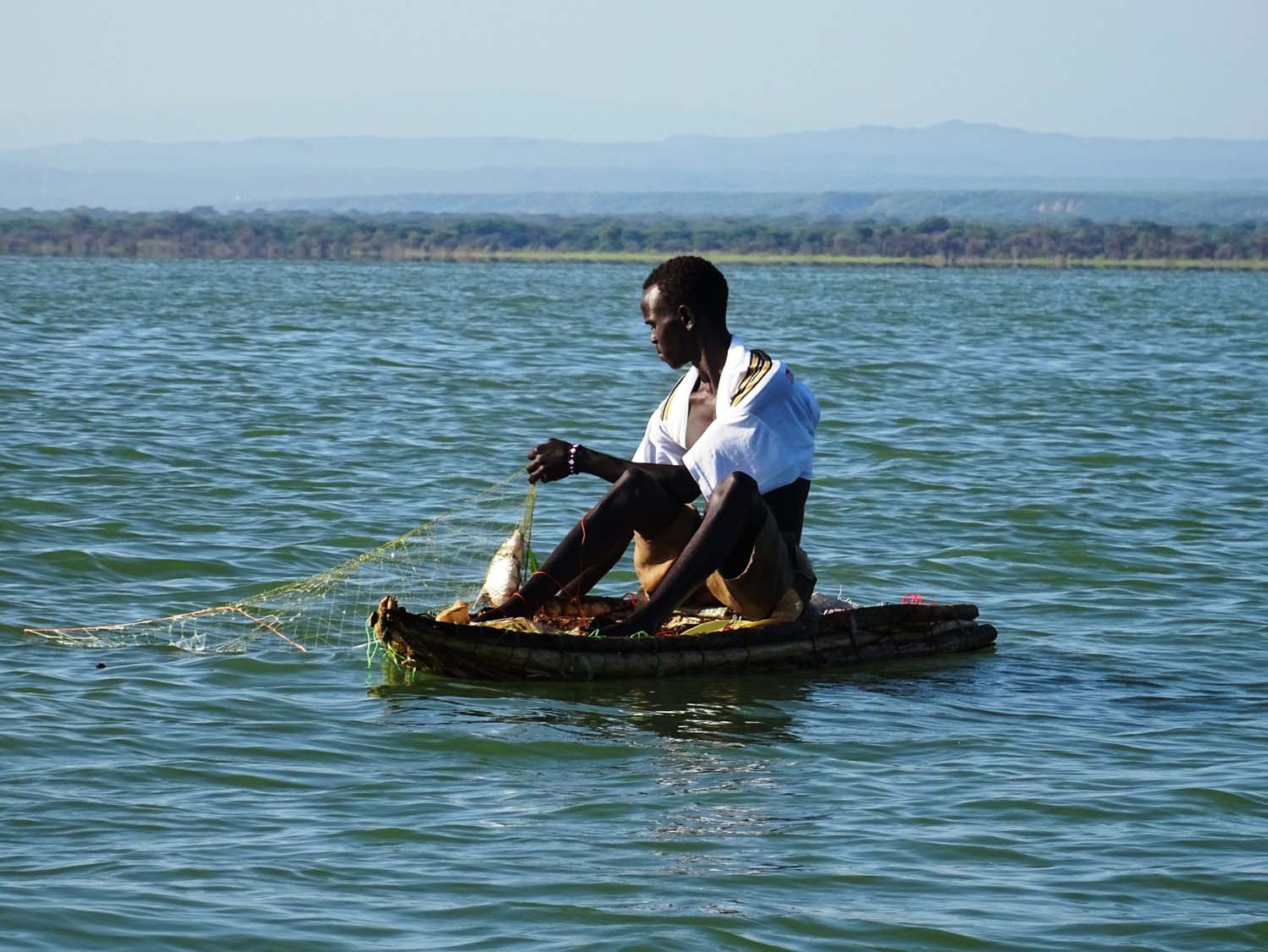 fisherman on lake Baringo on his home made kayak, checking his nets and pulling out a fish