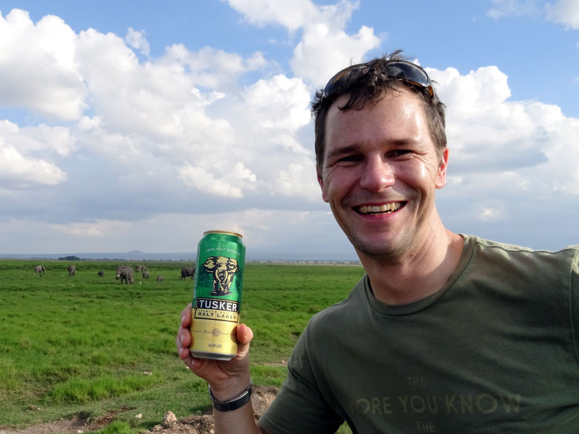 having a Tusker whilst trying to find a tusker... (Amboseli)