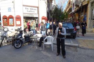 Jude enjoying an icecream in Athens
