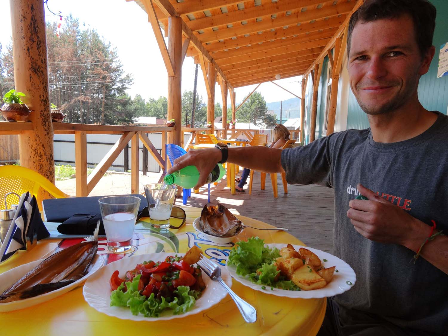 fantastic first Russian meal - smoked omul, potatoes and vegetables