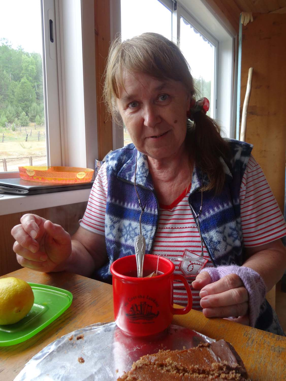 Vera having a cuppa - check out the mug!