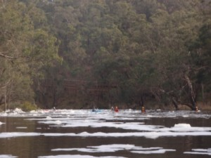 the group paddling