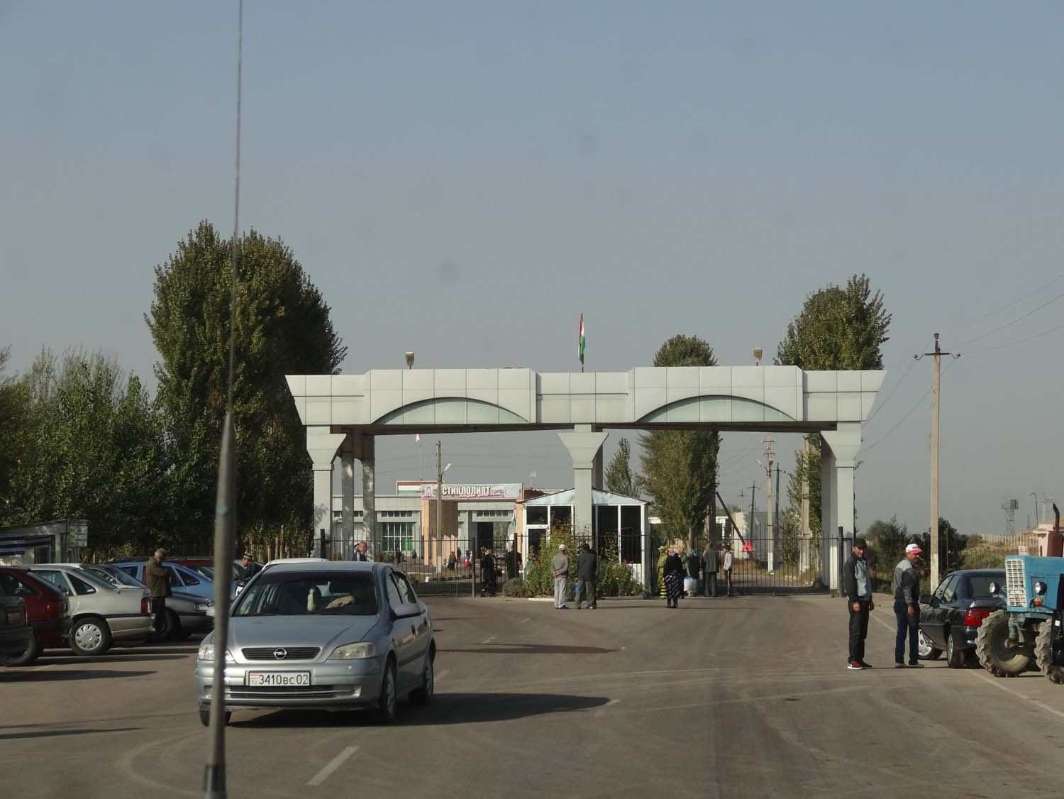 arriving at the Tajikistan side of the border from Khojand, the gate is closed but opened as soon as you arrive
