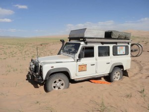 The beginning of a disaster. Stuck in the Gobi desert in Mongolia. Trying to get out we blew the differential and had to order a new one in from the UK after spending 4 days to get to Ulan Batar - the Mongolian capital where there was an excellent Land Rover garage.