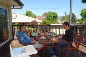 second breakfast early in the morning at Jake and Lucy's place in Canberra