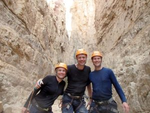 Jude, Bjørn and Jon after the second big abseil in Wadi Himara