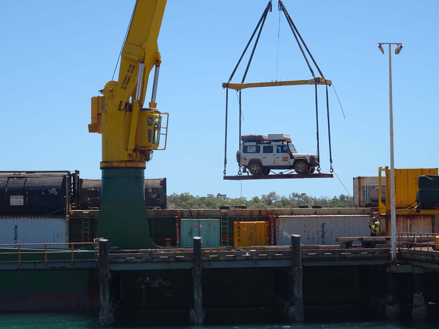 Lara being loaded onto the container ship back to Cairns
