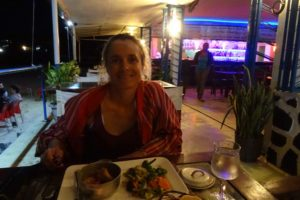 lovely dinner on the beach front, it was delicious!