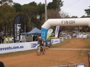 Jon crossing the finish line