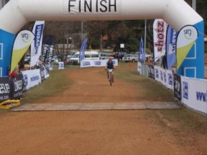 Jude about to cross the finish line