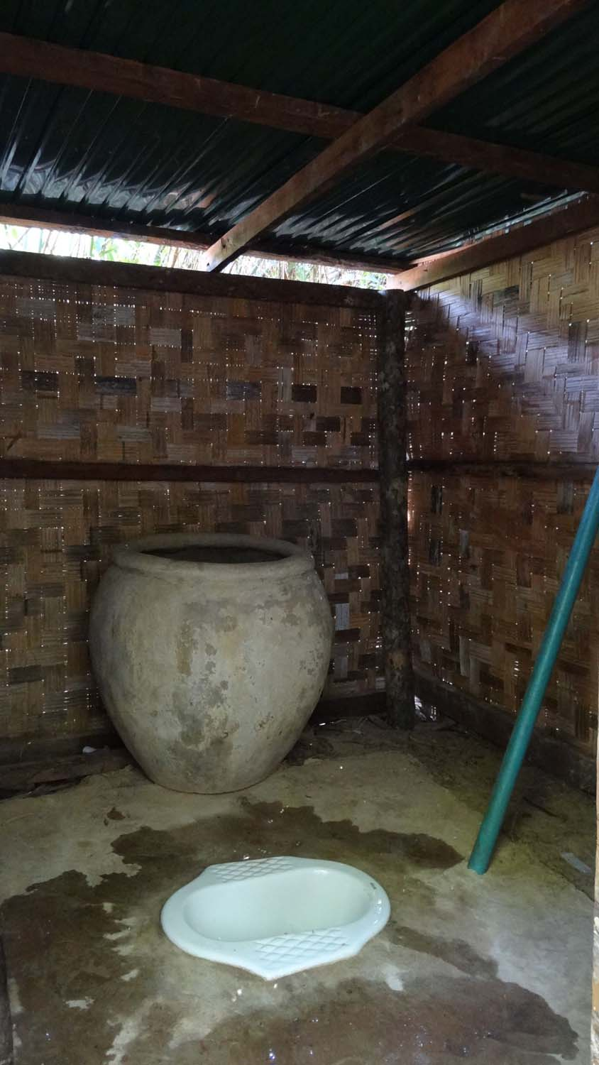 random toilet, the big stone pot has the water in it to flush