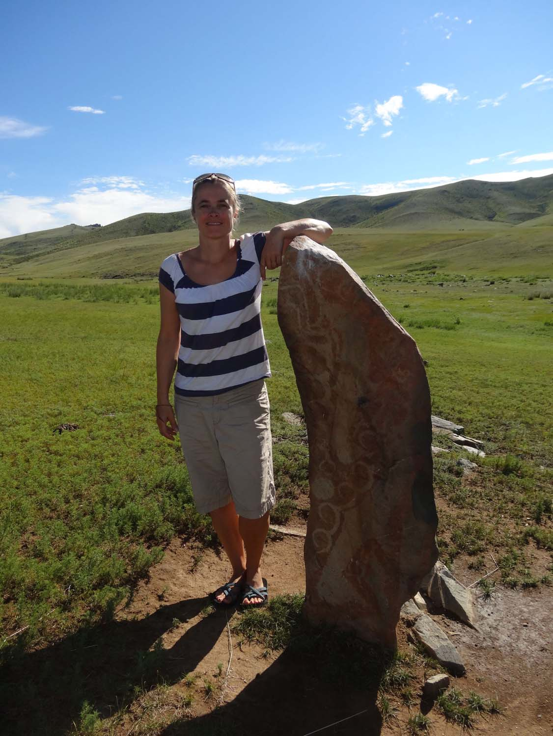 one of many deer stones in Mongolia, not many remain in situ, most have been carted off to various musea