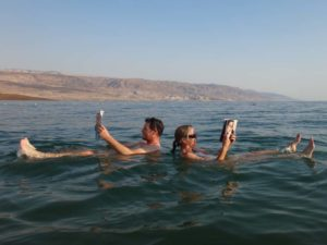Jon and Jude reading in the Dead Sea