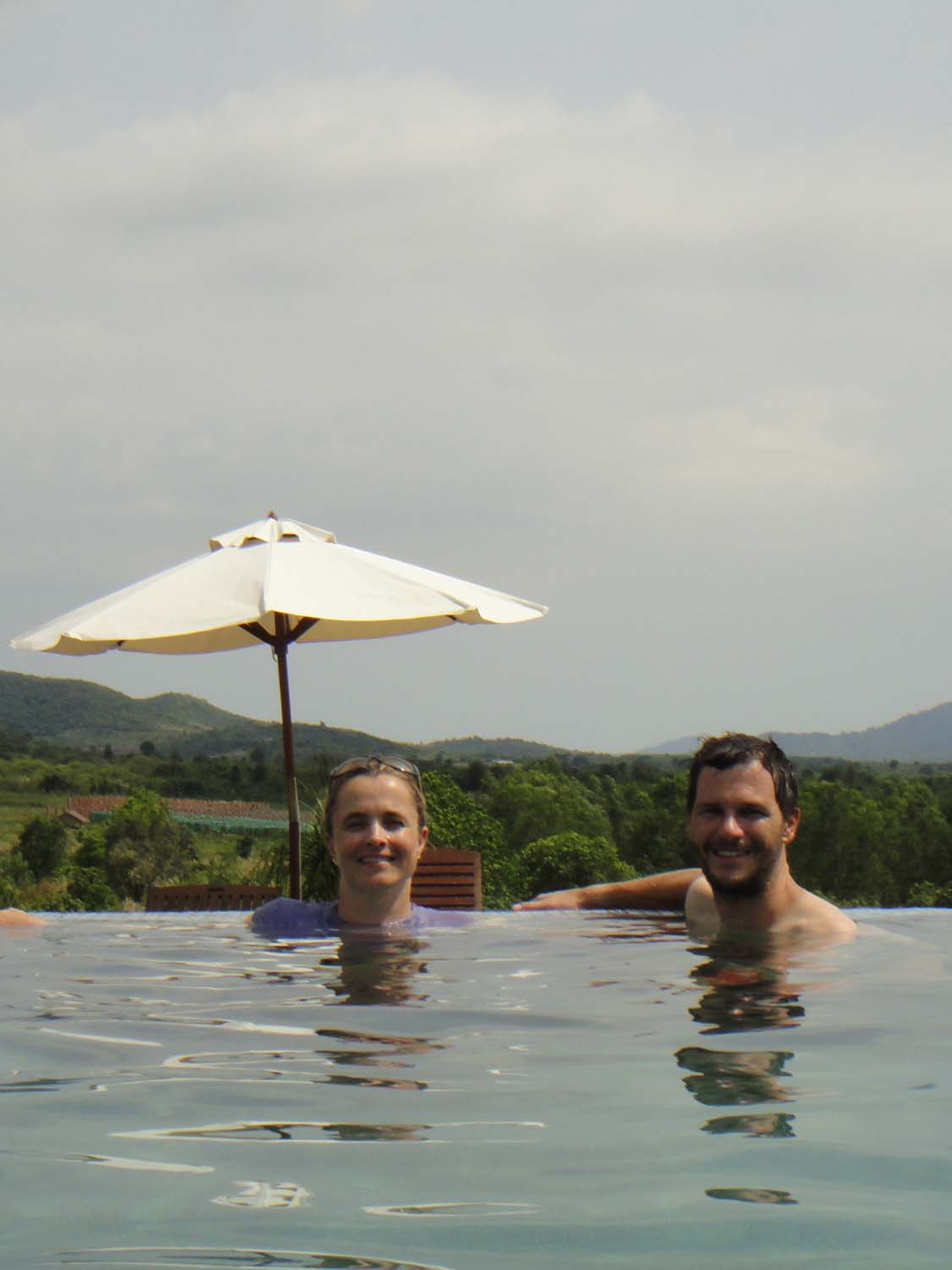 swimming pool at the kampot pepper farm