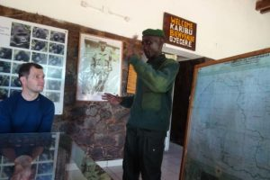 briefing from Lambert, the head guide, before seeing the gorillas