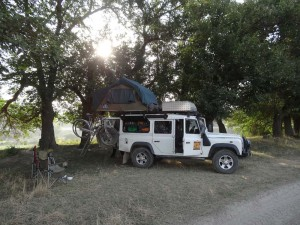 Sometimes our campsites were just off the main road, in whatever secluded spot we could find.