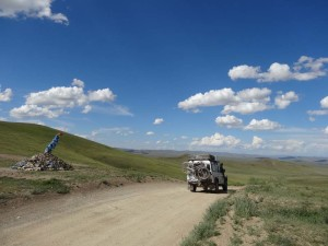 The amazing blue skies and blue ceremonial sites of Mongolia.