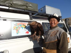 Lara meets a champion Golden Eagle in Kyrgyzstan near Lake Izzy Kul.