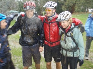 Angelo, Jonno, Jon and Jude after a muddy and wet ride