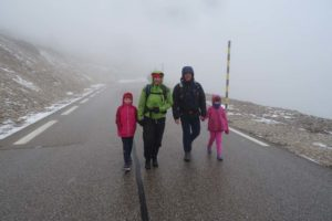 Olivia, Jude, Russell and Sophie on the way up Mont Ventoux