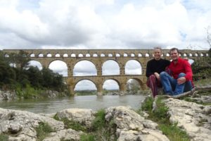 Jude and Jon at the famous and impressive Pont du Gard