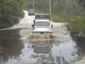driving the trails on Fraser Island