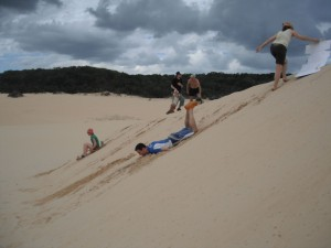 face plant? no we are trying some sand boarding - not a real success...