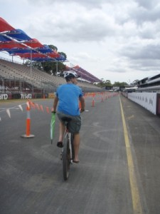 cycling home across the Clipsal 500 track