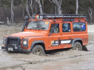 the Defender through the mud