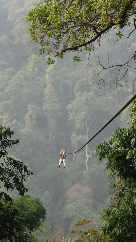 Jon on a long zipline, the longest is 700m!