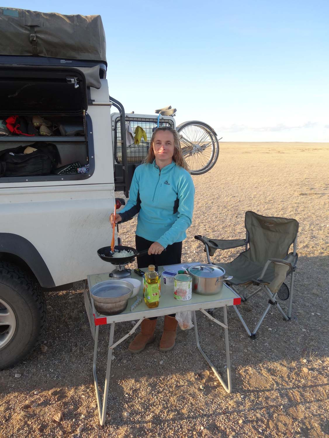 cooking in the middle of nowhere after a lovely shower