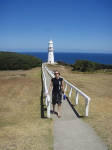 trip to memory lane - Jude at the finish line for stage 1 of the great Ocean Road adventure race